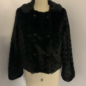American Eagle Double Breast Faux Fur Jacket